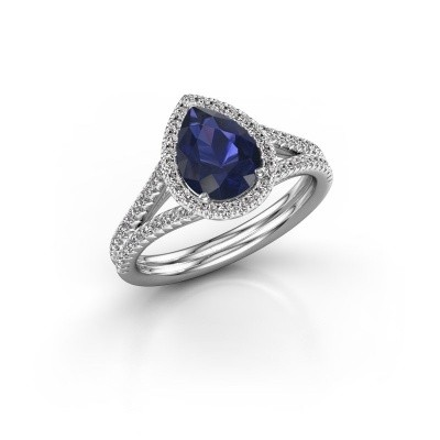 Picture of Engagement ring Elenore 2 585 white gold sapphire 8x6 mm