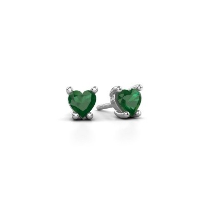 Picture of Earrings Sam Heart 925 silver emerald 5 mm