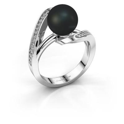Foto van Ring Amber 925 zilver zwarte parel 9 mm