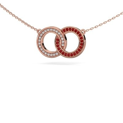 Picture of Necklace Circles 1 375 rose gold ruby 1 mm