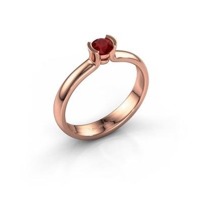 Foto van Verlovingsring Ophelia 375 rosé goud robijn 4 mm