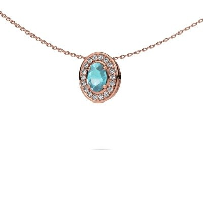 Picture of Necklace Madelon 375 rose gold blue topaz 6x4 mm