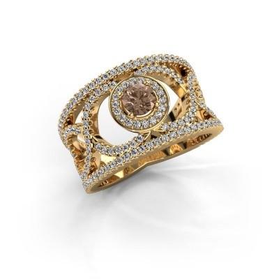 Foto van Ring Regina 585 goud bruine diamant 1.25 crt