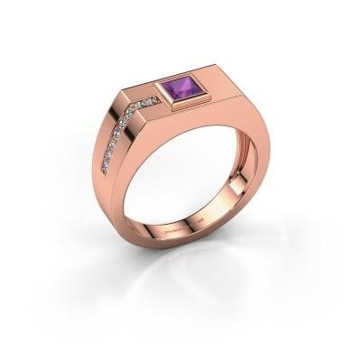 Foto van Heren ring Robertus 1 375 rosé goud amethist 4 mm