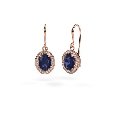Picture of Drop earrings Latesha 375 rose gold sapphire 8x6 mm