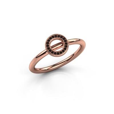 Foto van Ring Shape round small 375 rosé goud zwarte diamant 0.06 crt