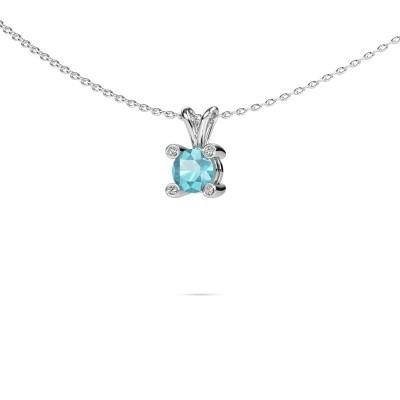 Picture of Pendant Fleur 950 platinum blue topaz 5 mm