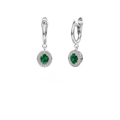 Picture of Drop earrings Nakita 950 platinum emerald 5x4 mm