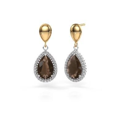 Picture of Drop earrings Cheree 1 585 white gold smokey quartz 12x8 mm