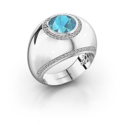 Ring Roxann 585 witgoud blauw topaas 8 mm