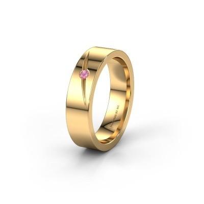 Trouwring WH0170L15A 375 goud roze saffier ±5x1.7 mm