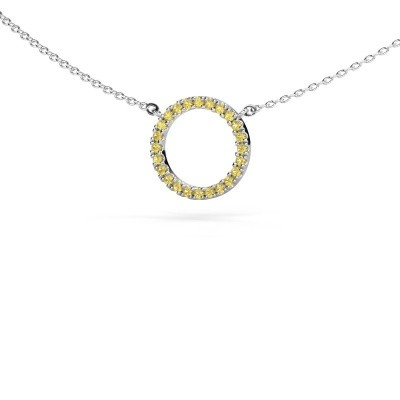Picture of Pendant Circle 585 white gold yellow sapphire 1.2 mm