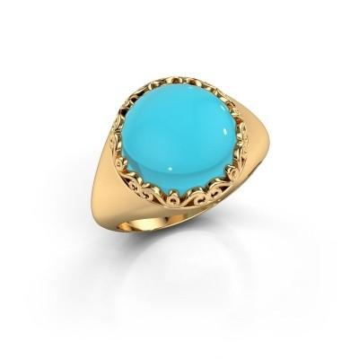 Foto van Ring Birgit 585 goud blauw topaas 12 mm