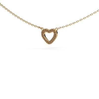 Bild von Anhänger Heart 4 585 Gold Braun Diamant 0.055 crt