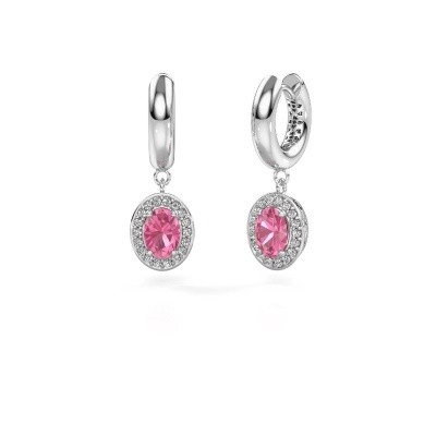 Picture of Drop earrings Annett 375 white gold pink sapphire 7x5 mm