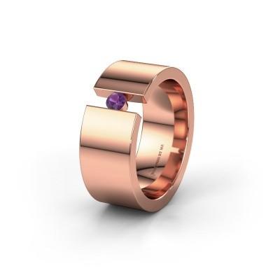 Trouwring WH0146L18BP 585 rosé goud amethist ±8x2 mm