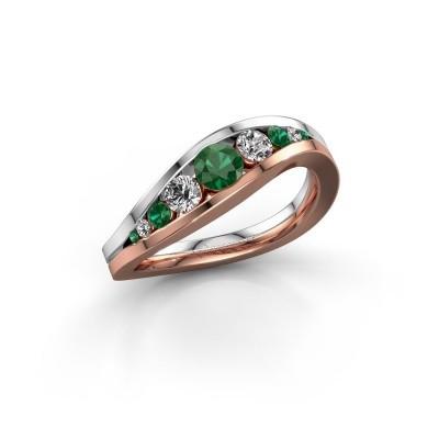 Foto van Ring Sigrid 2 585 rosé goud smaragd 4 mm