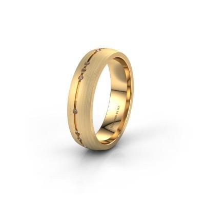 Trouwring WH0166L25A 375 goud bruine diamant ±5x1.7 mm