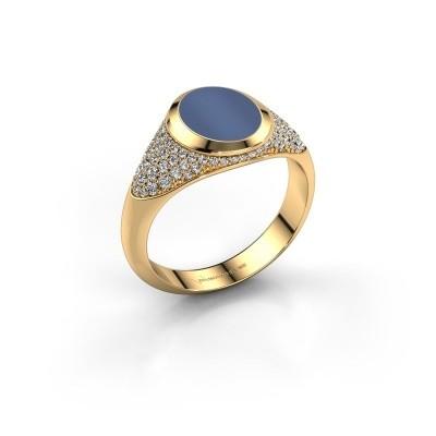 Bild von Pinky Ring Giovani 585 Gold Blau Lagenstein 10x8 mm