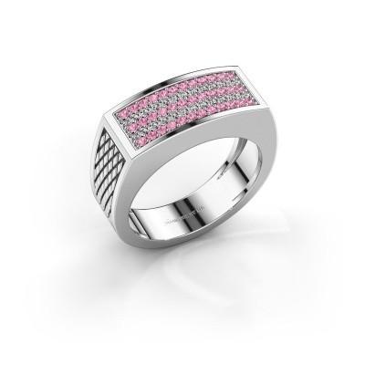 Foto van Heren ring Erwin 375 witgoud roze saffier 1.2 mm