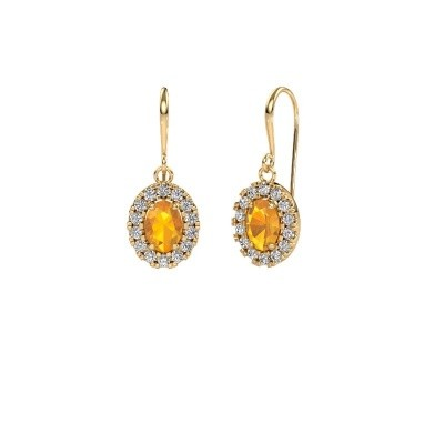 Picture of Drop earrings Jorinda 1 585 gold citrin 7x5 mm