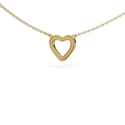 Picture of Pendant Heart 3 585 gold yellow sapphire 0.8 mm