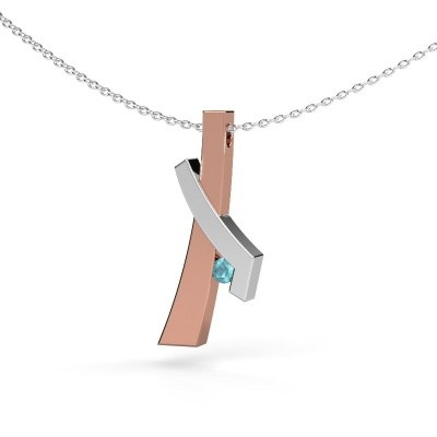 Picture of Pendant Alyssa 585 rose gold blue topaz 2.7 mm