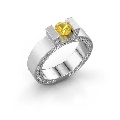 Foto van Ring Leena 2 925 zilver gele saffier 5 mm