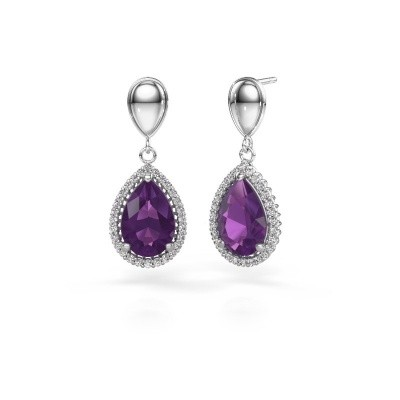 Picture of Drop earrings Cheree 1 950 platinum amethyst 12x8 mm