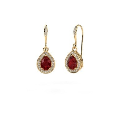 Picture of Drop earrings Beverlee 2 750 gold ruby 7x5 mm