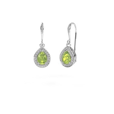 Picture of Drop earrings Beverlee 2 585 white gold peridot 7x5 mm