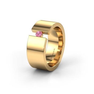Trouwring WH0146L18BP 375 goud roze saffier ±8x2 mm