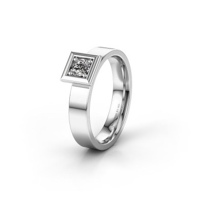 Trouwring WH2112L14A 585 witgoud diamant ±4x1.7 mm