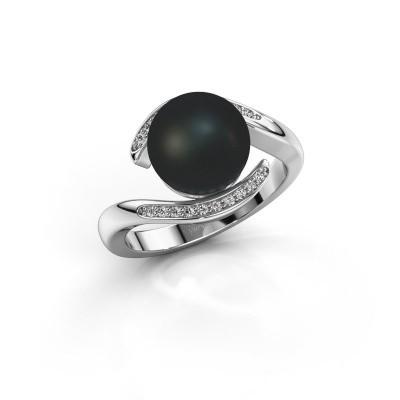 Foto van Ring Dedra 950 platina zwarte parel 9 mm