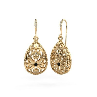 Picture of Drop earrings Idalia 2 585 gold black diamond 0.117 crt