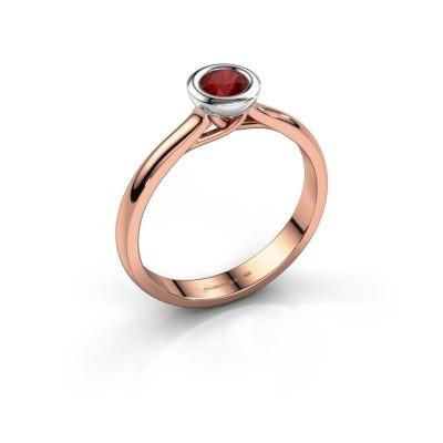 Foto van Verlovings ring Kaylee 585 rosé goud robijn 4 mm