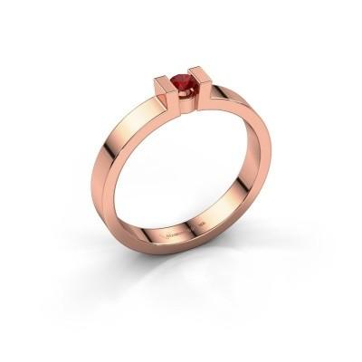 Foto van Verlovingsring Lieve 1 375 rosé goud robijn 3 mm