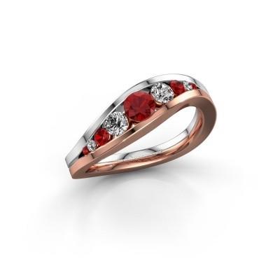 Foto van Ring Sigrid 2 585 rosé goud robijn 4 mm