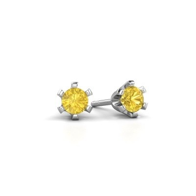 Picture of Stud earrings Shana 950 platinum yellow sapphire 4 mm