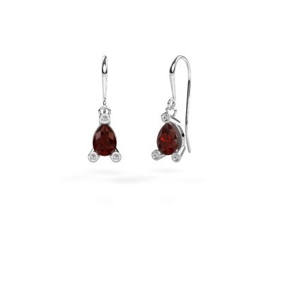 Picture of Drop earrings Bunny 1 375 white gold garnet 7x5 mm