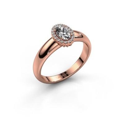 Engagement ring Tamie 585 rose gold zirconia 6x4 mm