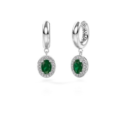 Picture of Drop earrings Annett 375 white gold emerald 7x5 mm