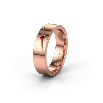 Trouwring WH0170L15A 585 rosé goud granaat ±5x1.7 mm