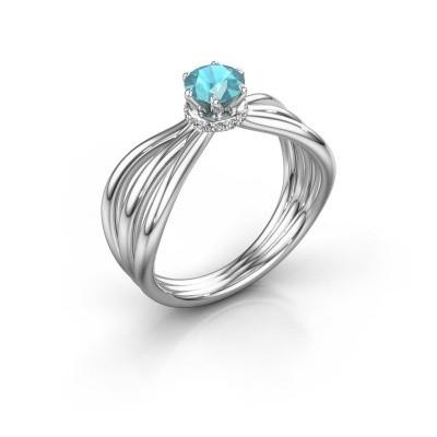 Verlovingsring Kimi 925 zilver blauw topaas 5 mm