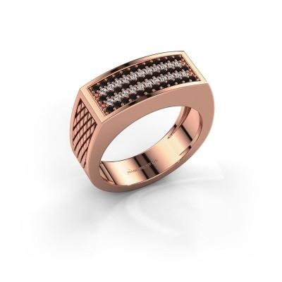 Foto van Heren ring Erwin 585 rosé goud zwarte diamant 0.489 crt