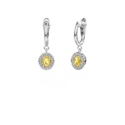 Picture of Drop earrings Nakita 950 platinum yellow sapphire 5x4 mm
