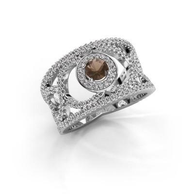 Foto van Ring Regina 925 zilver rookkwarts 4.2 mm