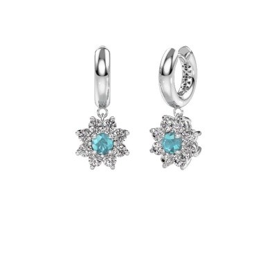 Picture of Drop earrings Geneva 1 585 white gold blue topaz 4.5 mm
