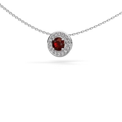 Picture of Pendant Agaat 585 white gold garnet 5 mm