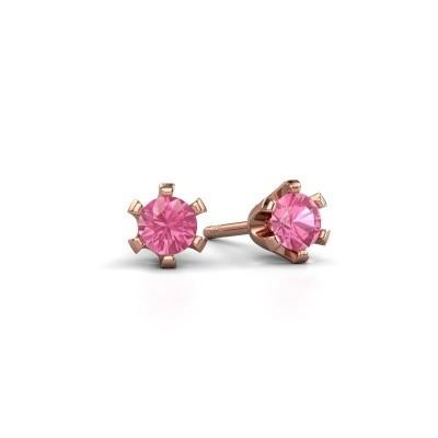Foto van Oorstekers Shana 585 rosé goud roze saffier 4 mm